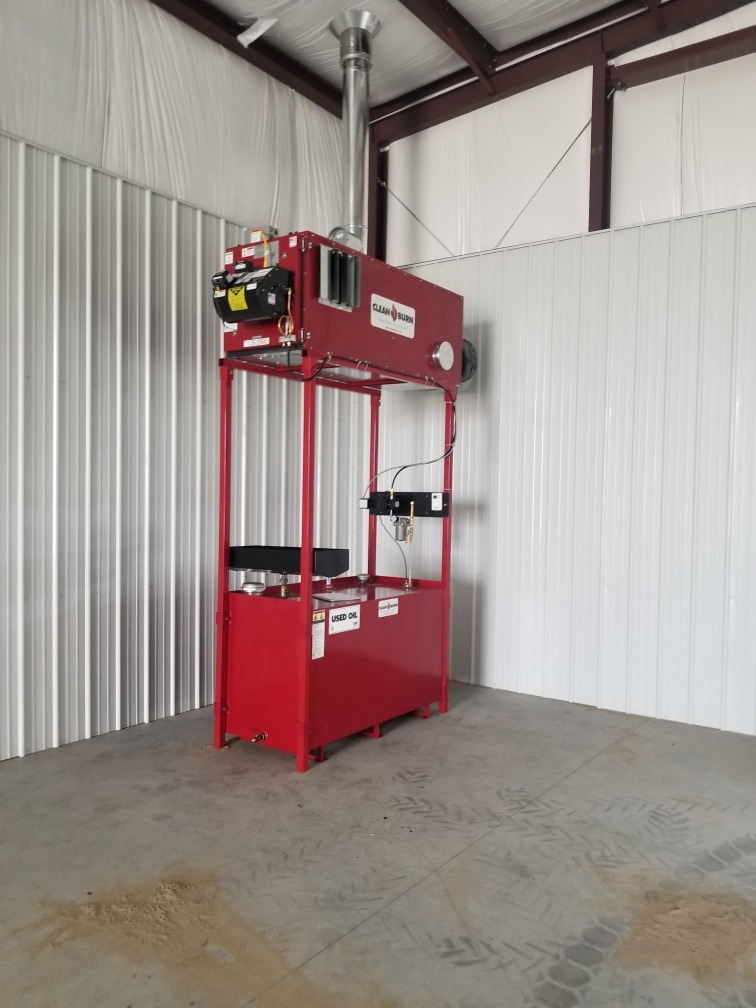 View this installed Clean Burn waste oil heater.