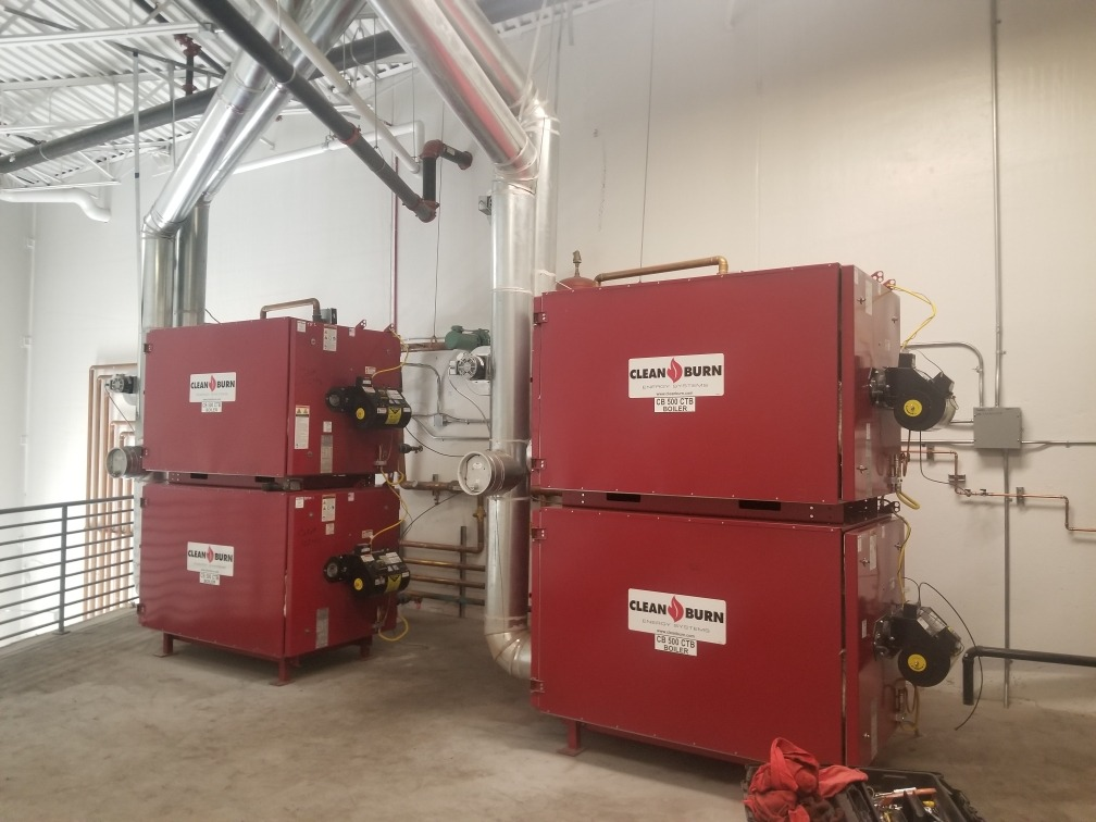 Another fully installed Clean Burn waste oil heating system.