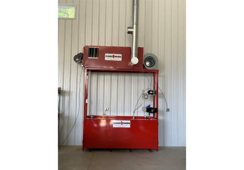 An installed Clean Burn waste oil heater.
